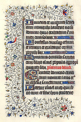 LOVELY ILLUMINATED MANUSCRIPT BOOK OF HOURS LEAF, c.1420 GOLD, ELABORATE BORDERS