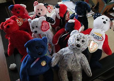 10 TY Beanie baby bear lot: Red, White & Blue: Patriot, Spangle, America, Sizzle