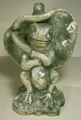 Cement Garden Frog   Lily Pad