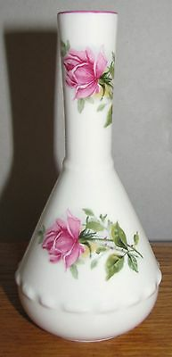 "St George England Fine Bone China 5"" Fancy Flared Bud Vase Roses & Ruffles MINT"