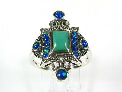 .75ct Natural Turquoise & Opal Victorian Deco Sterling .925 Filigree Ring 1037T