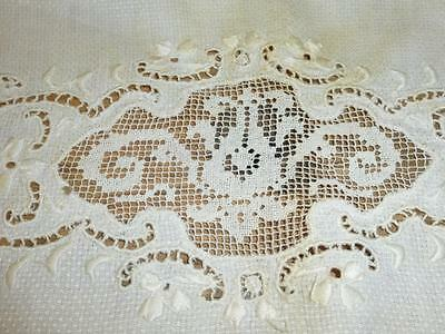 Antique Edwardian Ivory LINEN SHOW TOWEL Inlaid FILET LACE Trim Cutwork