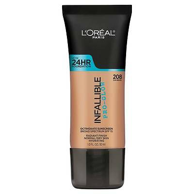 LOREAL Infallible Pro Glow Foundation, Sun Beige 208 NEW 24hr normal dry skin