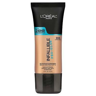 LOREAL Infallible Pro Glow Foundation Natural Beige 205 NEW 24hr normal dry skin