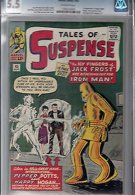 TALES OF SUSPENSE #45  CGC 5.5 *1st PEPPER POTTS * 1st HAPPY HOGAN * 1st J.FROST