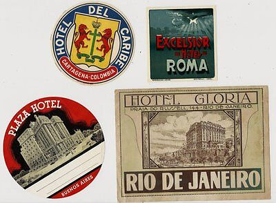 Lot of 4 Old Foreign Hotel Luggage Labels - Nice Condition