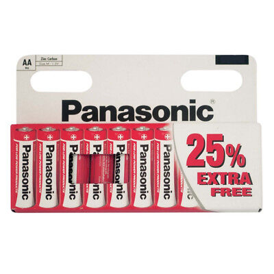 PACK OF 10 x PANASONIC 1.5V AA SIZE ZINC CARBON BATTERIES EXPIRY DATE 02/2018