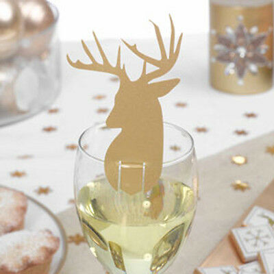 10 Gold STAG CHRISTMAS Wine GLASS DECORATIONS Reindeer Table Place Cards Xmas
