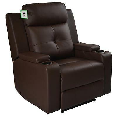 Odeon Brown Electric Powered Real Leather Recliner Cinema Style Chair Sofa