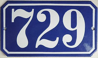Old blue French house number 729 door gate plate wall plaque enamel metal sign