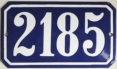 Old blue French house number 2185 door gate plate wall plaque enamel metal sign
