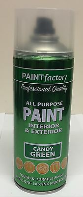 1 x All Purpose 400ml Paint Candy Green Interior And Exterior Spray Can