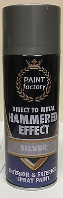 1 x Silver Hammer Effect Spray Paint Can Like Hammerite Metal Rust 400ml