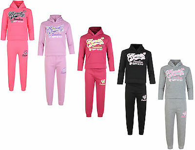Kids Tracksuit Girls Jog Set Beauty Hooded Top & Joggers Bnwt