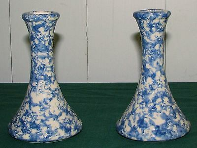 """(2) Henn Country Home Collection Blue Spongeware 5 1/4"""" Candlesticks - EXCELLENT"""