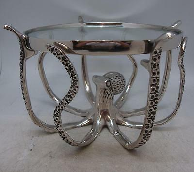 Silver Colour Octopus Cake Stand / Server - Nickel Plated Aluminium & Glass Top