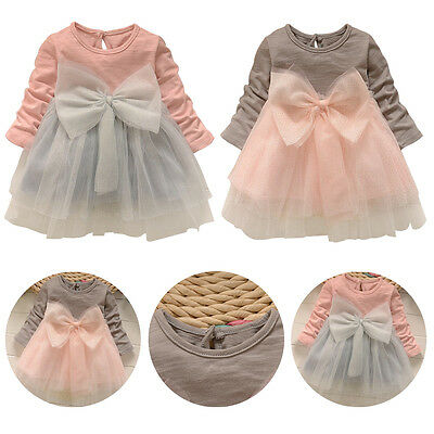 Toddler Baby Girls Princess Tulle Tutu Skirt Long Sleeve Sequin Bow Dress 1-5T