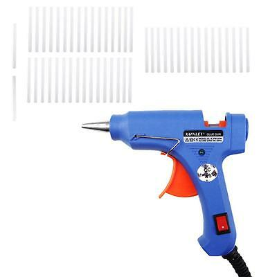20W Trigger Electric Hot Heating Melt Glue Gun Tool with 50x Adhesive Sticks MT