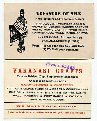 Two Different Old Business Cards From India: Silk, Sarees Scarves, Ivory, Etc