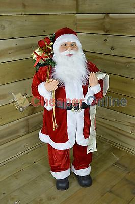 100cm Standing Indoor Santa Claus / Father Christmas with List Plush Decoration