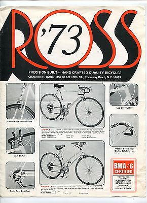 "1973 ""Chain Bike Corp"" Sales Catalog Brochure: ROSS BICYCLES"