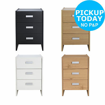 HOME New Capella 3 Drawer Bedside Chest - Choice of Black/White/Oak/Pine :Argos