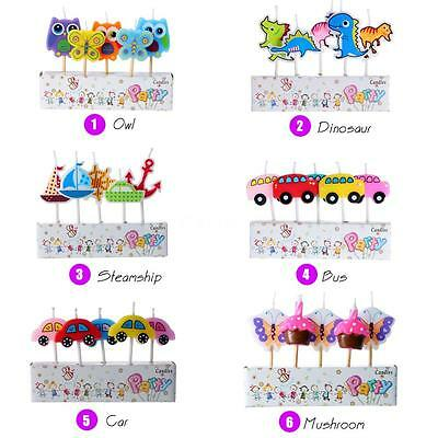 Anself 5pcs Lovely Cartoon Birthday Cake Candles Colorful Party Baking New W7T3
