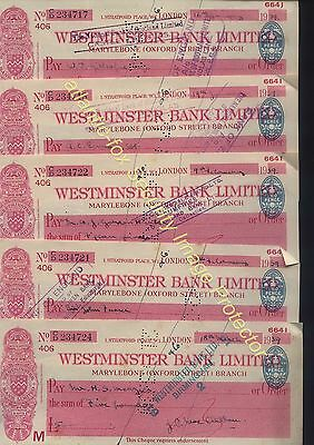 1939 WESTMINSTER BANK Marylebone (OXFORD STREET) Branch 5 Cheques