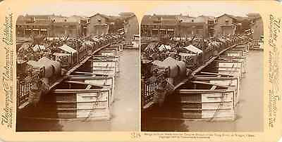 STEREO, China, Bridge built on boats over Yongow Branch of the yung River, at Ni