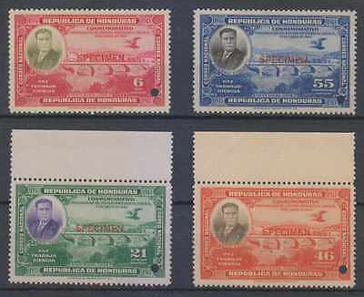 "HONDURAS 1937 CARIAS BRIDGE Sc 332-335 FULL SET PERF PROOFS + ""SPECIMEN"" MNH VF"
