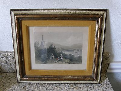 Antique W. H. Bartlett The Tomb of Kosciusko Colored Art Print Framed Very Nice
