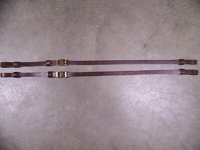 LEATHER LUGGAGE STRAPS for LUGGAGE RACK/CARRIER~(2) SET~3/4 IN. WIDE~BROWN~BRASS