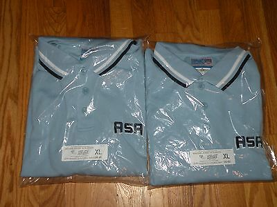 Lot Of 2 Asa Shortsleeve Umpire Shirts Xl 46/48 Light Powder Blue New In Package