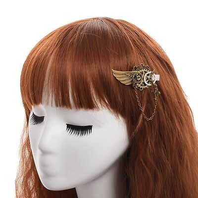 1pc Steampunk Girl Gear Wings Cross Pendant Hairpin Vintage Gothic Lady Headwear