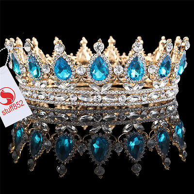 Baroque Crystal Queen Crown Tiara Silver Teardrop Turquoise Gold Plated Crown