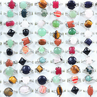 Wholesale Lots 10 PCS Mixed Color Fashion Party Costume Natural Gemstone Rings
