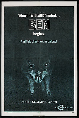 BEN/WILLARD orig advance 1972 HORROR one sheet movie poster RATS/MICHAEL JACKSON