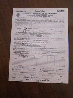 CHUBBY CHECKER Concert contract 1976 Oxnard CA