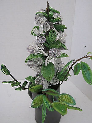 6 stems vintage handmade French glass Seed Beads & wire Purple FLOWER & Leaves