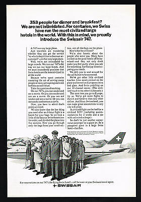 1971 Swissair Airlines 747 Airplane Introduction Vintage Print Ad