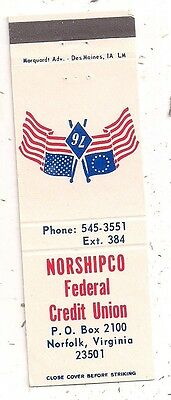Norshipco Federal Credit Union Norfolk VA Matchcover 090716