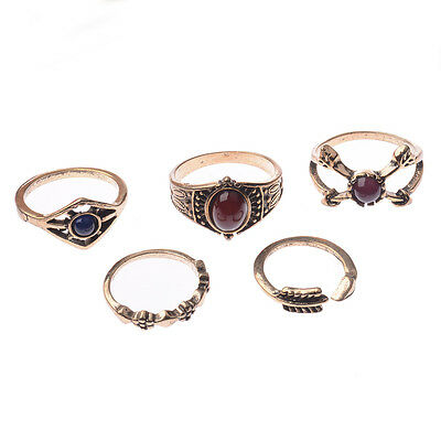 5 PCS Silver Punk Vintage Ring Womens Retro Finger Rings Set Boho Style