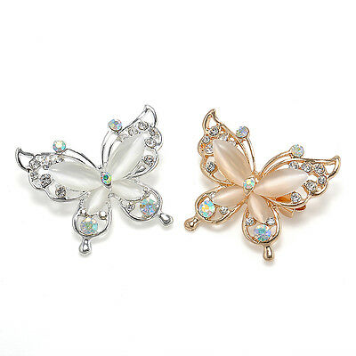 Fashion Jewelry Women Gold/Silver Crystal Rhinestone Plated Butterfly Brooch Pin