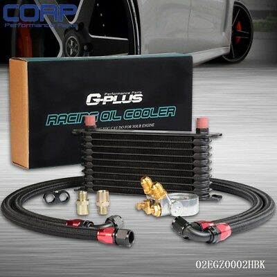 GPLUS 10 ROW Thermostat Adaptor Engine Racing Oil Cooler Kit For CAR/TRUCK BK