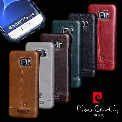 For Samsung Galaxy S7 Edge S9 S8 Plus Pierre Cardin Genuine Leather Back Cover