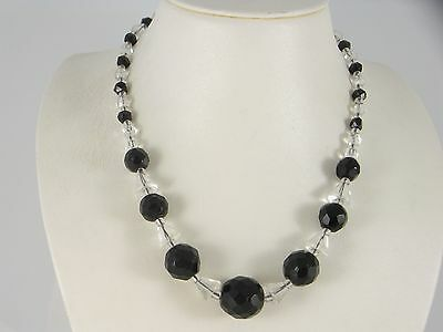 Vintage Art Deco Black and Clear Glass Geometric Bead Necklace