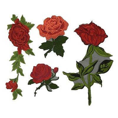 New Lace Applique Retro Rose Sew On Embroidery Patches Clothes Pants DIY Trims