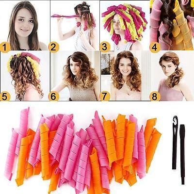 New 40 PCS 50CM DIY Hair Rollers Curlers Magic Circle Twist Spiral Styling Tools