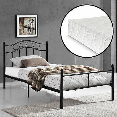 metallbett mit matratze 140x200cm wei bett bettgestell doppelbett eur 199 90. Black Bedroom Furniture Sets. Home Design Ideas