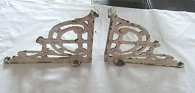 PAIR large ANTIQUE CAST IRON SHELF BRACKETS 10in x 11in  NOT REPRODUCTION